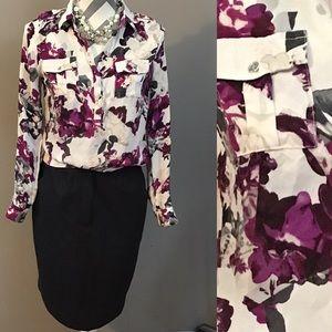 White House Black Market Floral Print Silk Blouse